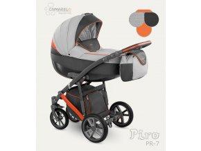 Dětský kočárek Camarelo Piro světle šedý s tmavě šedou a oranžovou