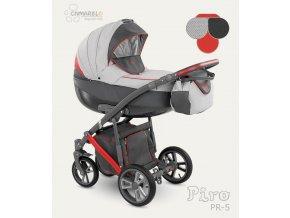 Dětský kočárek Camarelo Piro světle šedý s tmavě šedou a červenou