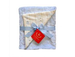 detska deka bobobaby oboustranna srdce 75 x 100 cm modra