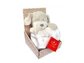 detska deka s plysovou hrackou bobobaby pes