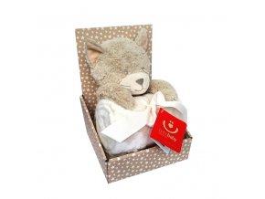 detska deka s plysovou hrackou bobobaby kocicka