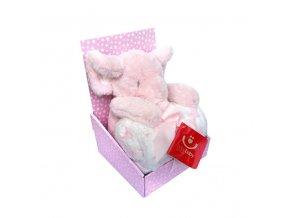 detska deka s plysovou hrackou bobobaby ruzovy slon