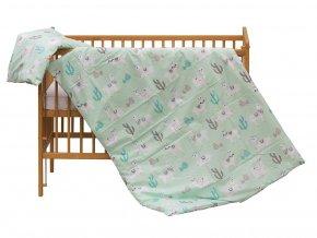 detske povleceni do postylky scarlett lama 2 dilne 100 x 135 cm zelena