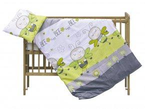 detske povleceni do postylky scarlett vcelka 2 dilne 90 x 120 cm zelena