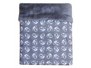 detska deka emitex mimi lisky sede velvet sedy
