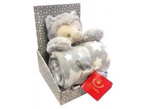 detska deka s plysovou hrackou bobobaby sova