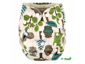 Dětská plena T-Tomi kalhotková, bambusová AIO+2 vkládací bambusové pleny-Stromy