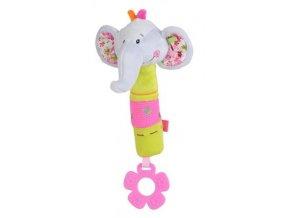 Dětská plyšová hračka BabyOno Sloník pískací s kousátkem