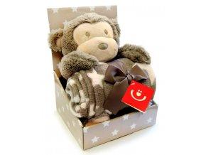 Dětská deka s plyšovou hračkou Bobobaby Opička