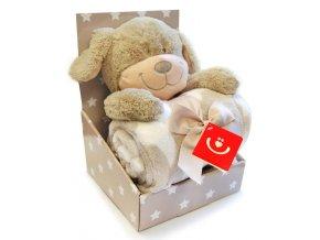 Dětská deka s plyšovou hračkou Bobobaby Pejsek