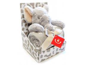 Dětská deka s plyšovou hračkou Bobobaby Slon