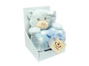 Dětská deka s plyšovou hračkou Bobobaby Medvěd modrý