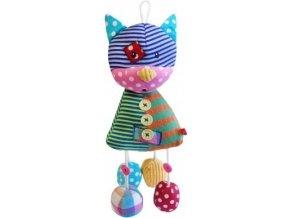 Dětská plyšová hračka Bobobaby Patchwork Kočka s chrastítkem