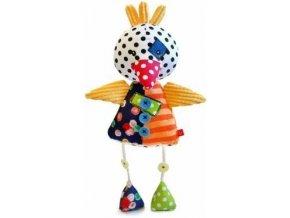 Dětská plyšová hračka Bobobaby Patchwork Kuře s chrastítkem