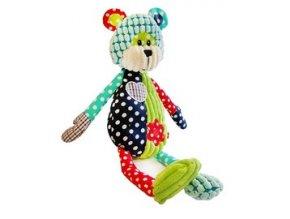 Dětská plyšová hračka Bobobaby Patchwork Farm Medvídek 40 cm pískací