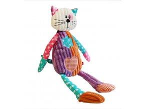 Dětská plyšová hračka Bobobaby Patchwork Farm Kočička 40 cm pískací