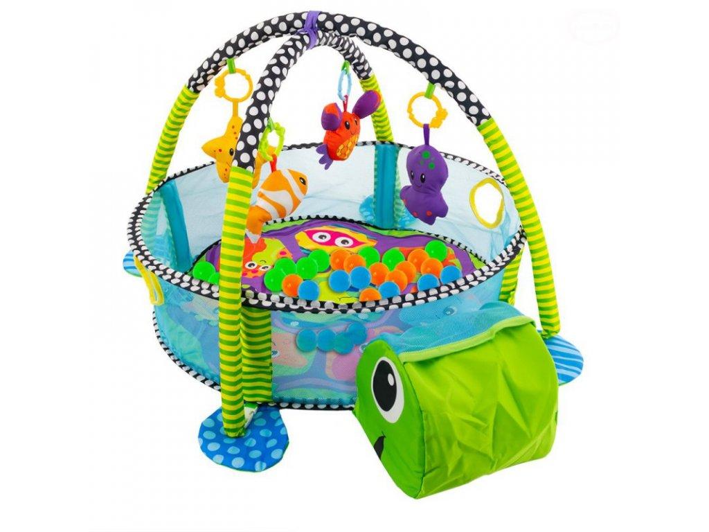 Kinderplay multifunkční hrací deka 3v1 s míčky - želva