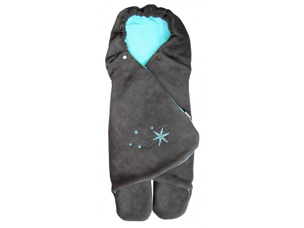 Zavinovačka do autosedačky zimní ZOE Emitex fleece - antracit/aqua