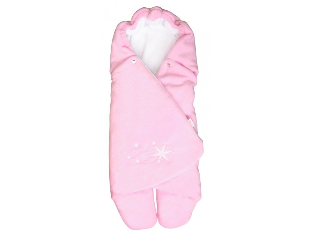 Zavinovačka do autosedačky zimní ZOE Emitex fleece - růžová/bílá