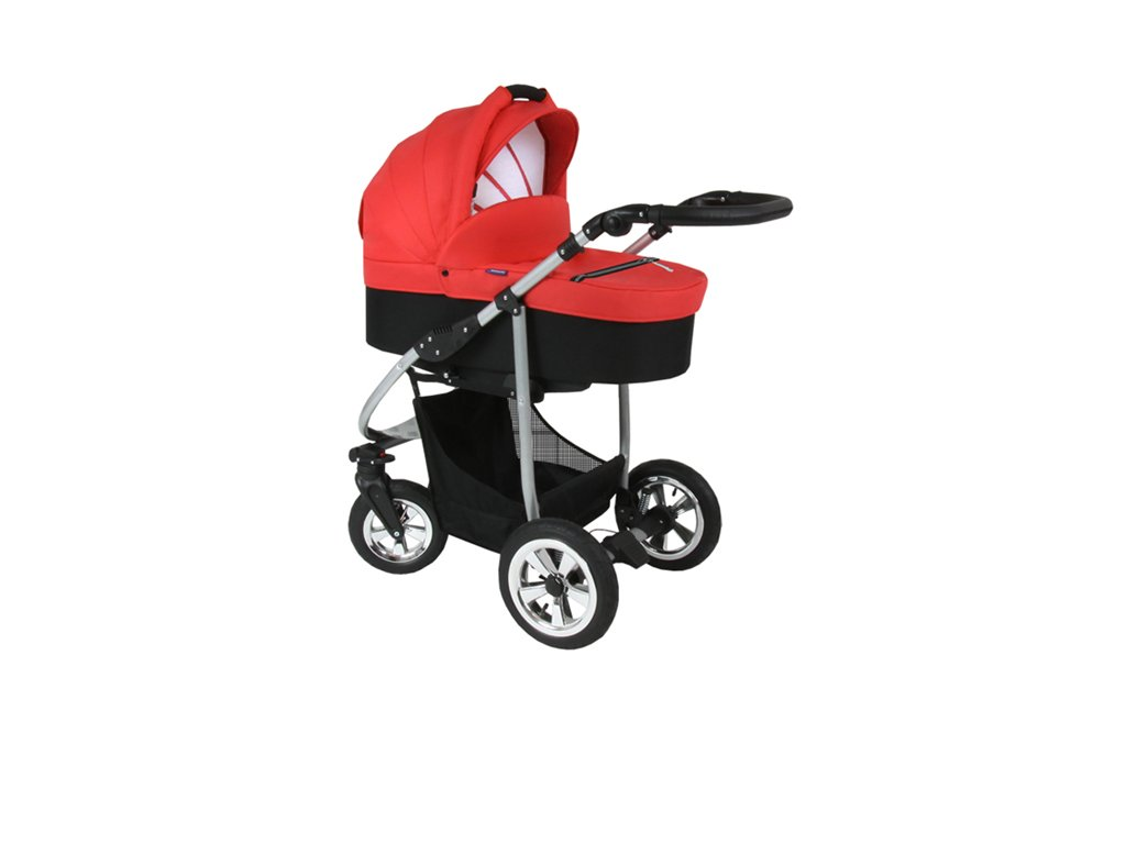 Prampol kombinovaný kočárek Solam 2019 komplet s autosedačkou - 01 oranžovo červený  + Reflexní náramek zdarma