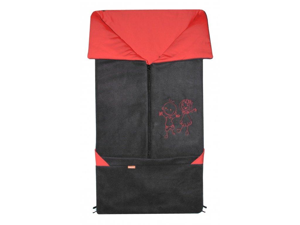 Fusak Emitex 2v1 Fanda Fleece + bavlna - antracit + červená