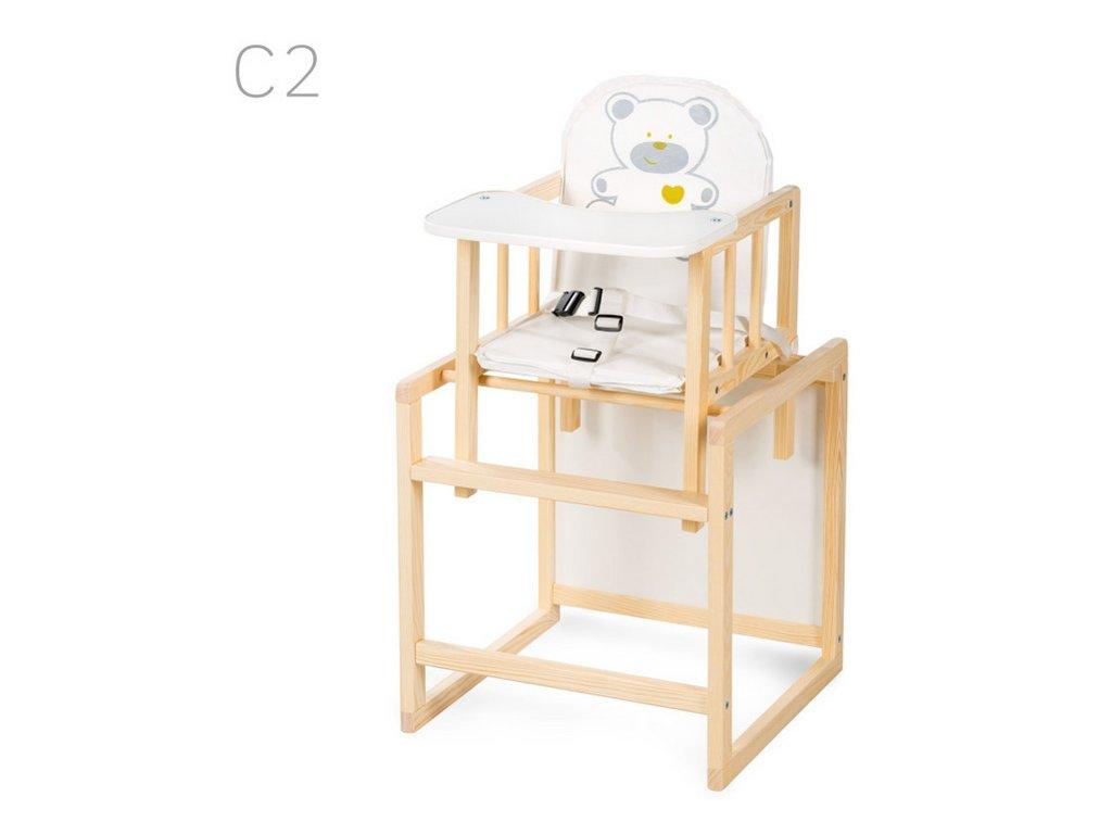 KLUPS Jídelní židlička dřevěná víceúčelová Aga - smrk