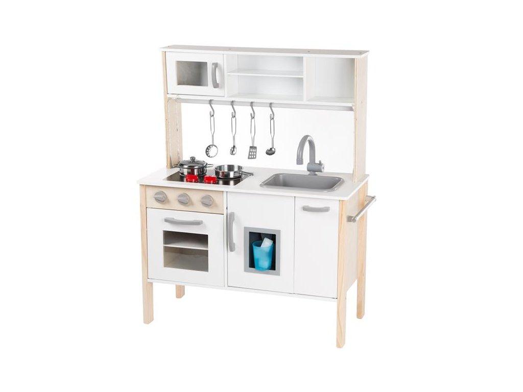 Kinderplay dřevěná kuchyňka pro děti se světlem, bílá