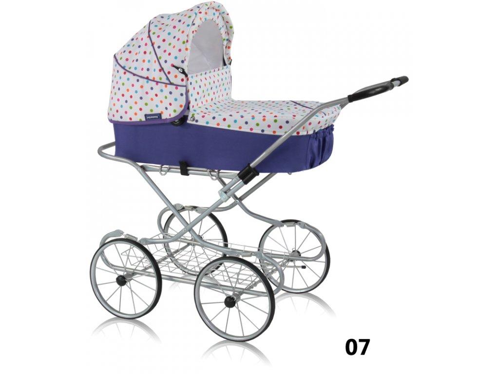 Prampol Kočárek pro panenky Emilie Joy - 07 fialový s barevnými  puntíky