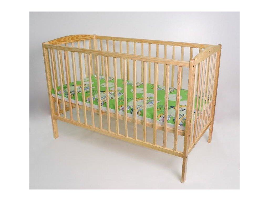 BOBAS Dětská dřevěná postýlka Ola 120 x 60 cm - přírodní