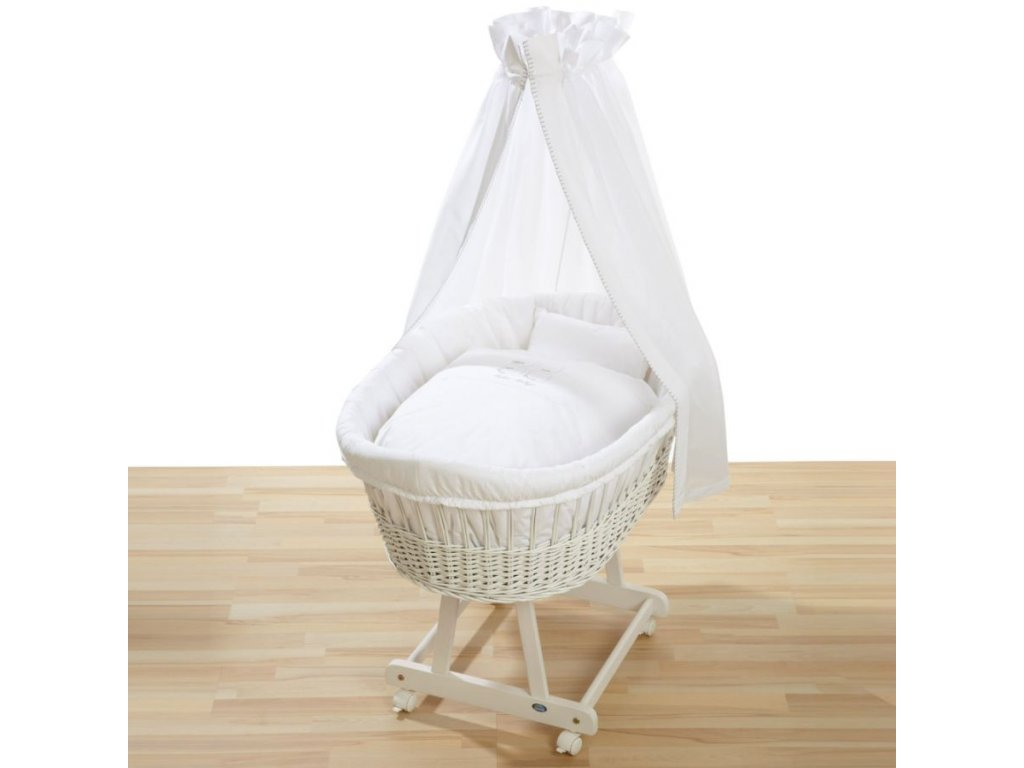 Dětský proutěný koš na spaní Grapi pro miminko či batole. Celobílé provedení.