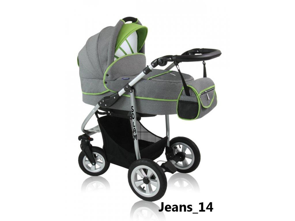 Kombinovaný kočárek Prampol Solam 2015 – Jeans 14 (komplet s autosedačkou)  + Reflexní náramek zdarma