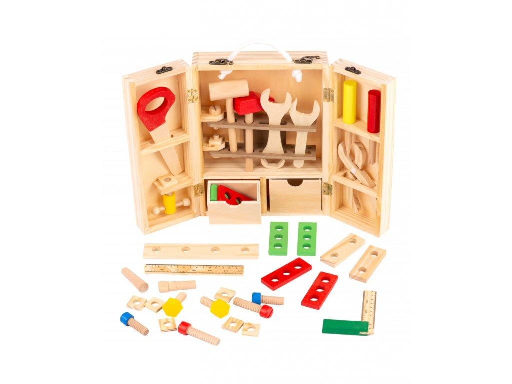 Kinderplay dřevěný box s nářadím pro děti, 38ks
