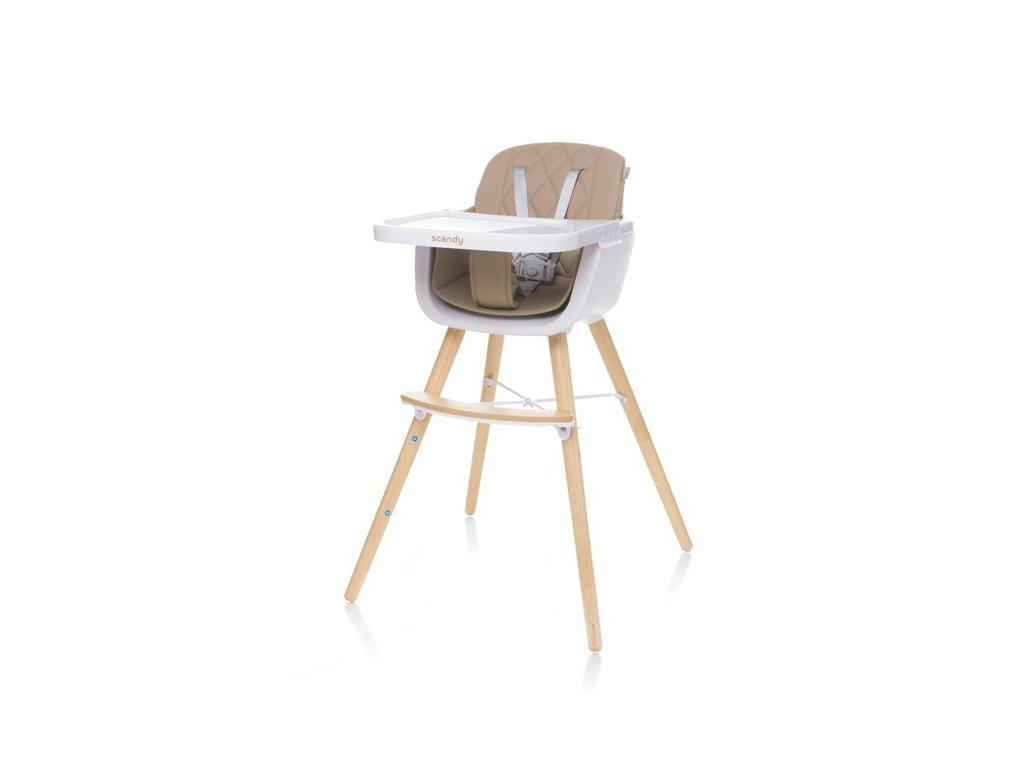 4Baby dřevěná jídelní židlička Scandy, Camel