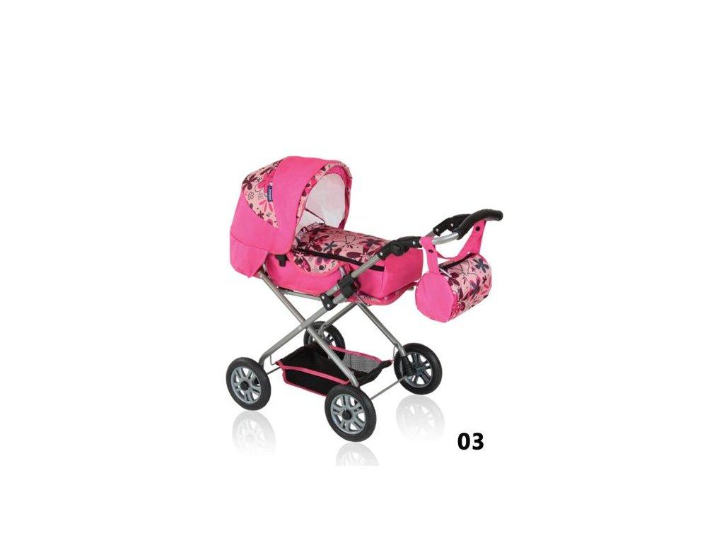 Prampol kočárek pro panenky Jenny - 03 růžový s květy