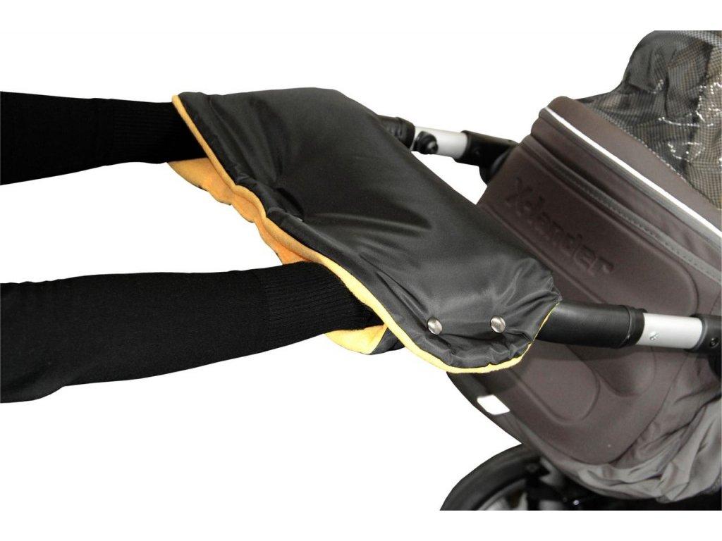 Emitex rukávník na kočárek fleece - černý + oranžový