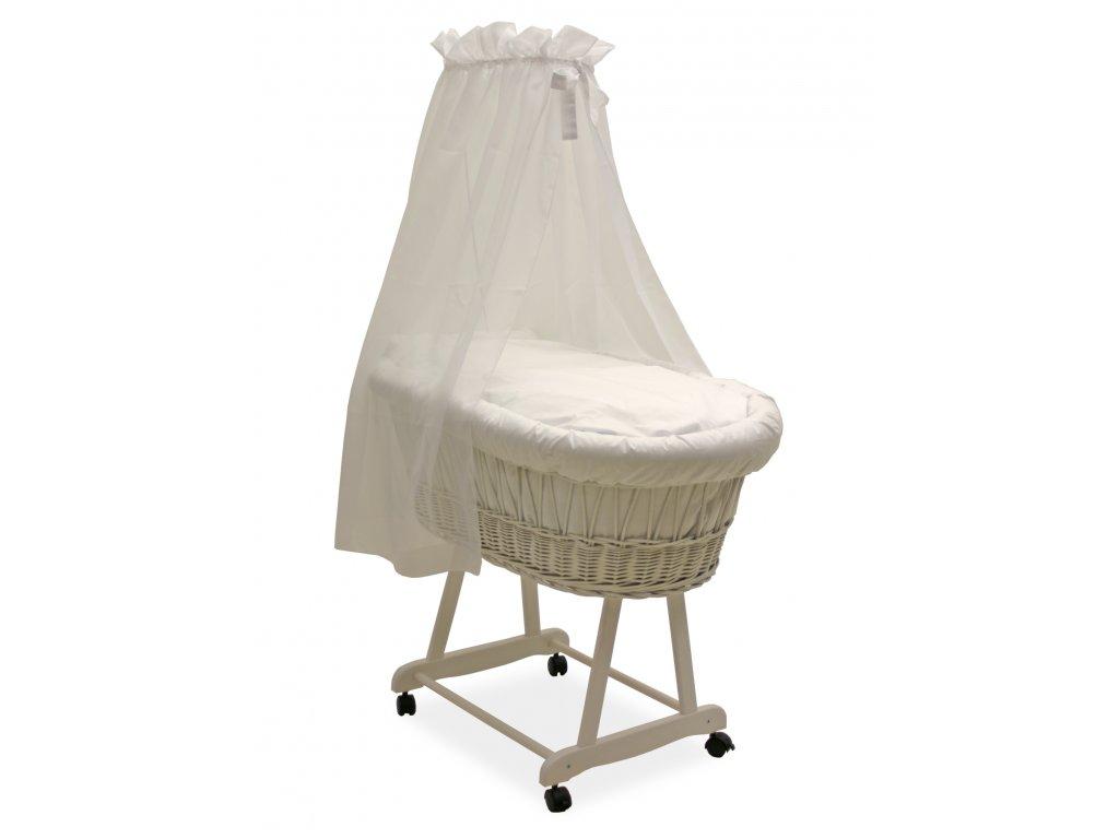 Dětský proutěný koš na spaní Grapi pro miminko či batole. Bílé provedení s průhlednými nebesy.