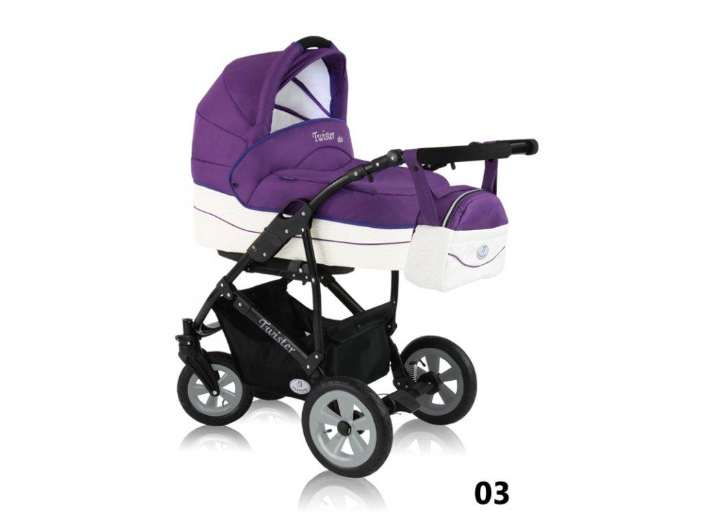 Prampol kombinovaný kočárek Twister eko, fialový  + Reflexní náramek zdarma