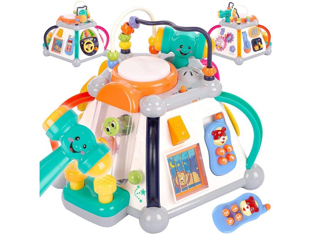 Kinderplay interaktivní kostka 30cm, Happy small world