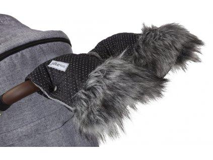 Little Angel rukavice na kočár DeLuxe -  černá/stříbrný prošev/šedá