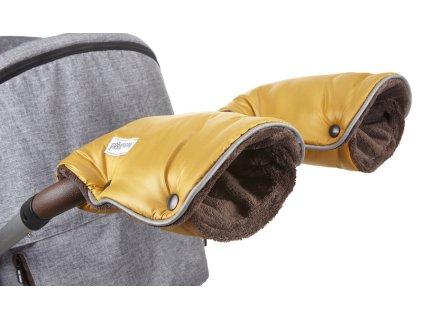 rukavice na kočár Mazlík zlatá/hnědá