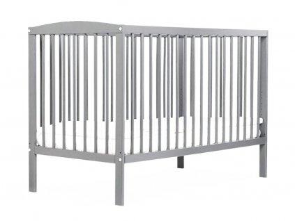 BOBAS Dětská dřevěná postýlka Ola 120 x 60 cm - světle šedá