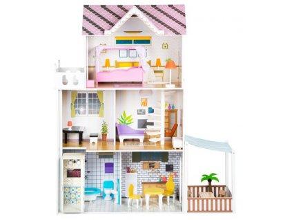 Kinderplay Dřevěný domeček pro panenky - 120cm s LED osvětlením