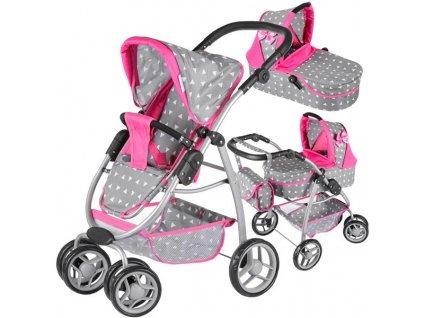 Kinderplay Kočárek pro panenky 4v1 - růžový/šedý