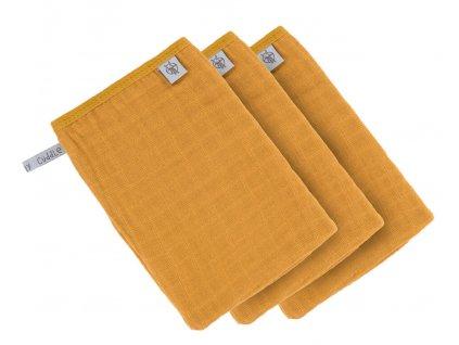 Muslin Wash Glove Set 3 pcs mustard