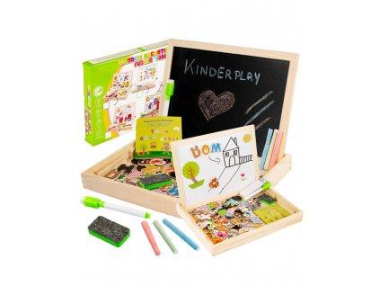 Kinderplay vzdělávací magnetická tabule 3v1, dřevěná