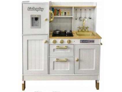 Kinderplay dřevěná kuchyňka pro děti Vintage, zlato-bílá