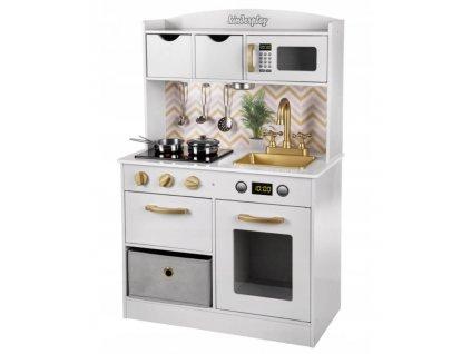 Kinderplay dřevěná kuchyňka s LED osvětlením, zlato-bílá