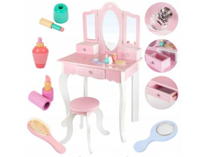 Kinderplay dřevěný toaletní stoleček, růžové srdíčko