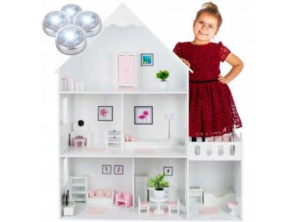 Kinderplay dřevěný domeček pro panenky 118 cm, bílá B