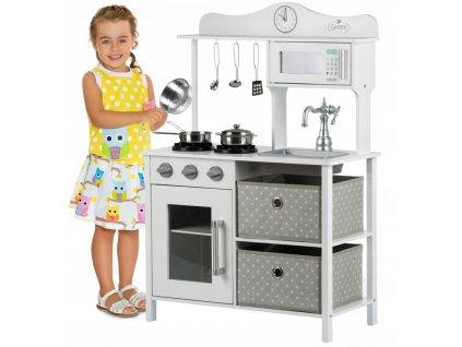 Kinderplay dřevěná kuchyňka pro děti Vintage, bílo-šedá